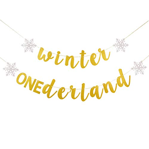 Gold Glittery Winter Onederland Banner- Winter 1st Birthday Theme Party Decorations,First Birthday Decor,Birthday Banner Decor (Unique Birthday Party Themes For 1st Birthday)
