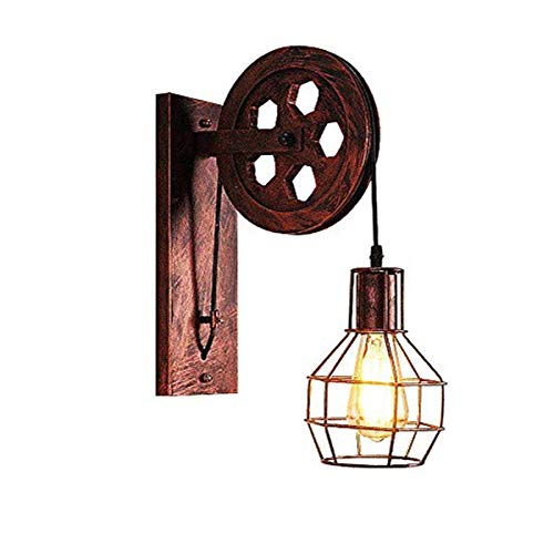 Rust Wall Lamp - Bowrain 1 Light Fixture Industrial Mid Century Retro Iron Wall Sconce Lift Pulley Wall Lamp Features The Matte Iron Cage Lamp Shade (Rust Color)