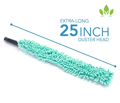 EVERSPROUT 4-Pack Duster Squeegee Kit with Extension-Pole (20+ Foot Reach) | Swivel Squeegee, Hand-Packaged Cobweb Duster, Microfiber Feather Duster, Flexible Ceiling Fan Duster, 12 ft Telescopic Pole by EVERSPROUT (Image #8)