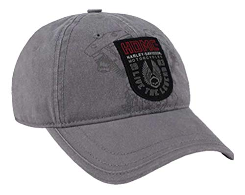 HARLEY-DAVIDSON Men's Forged Woven Patch Baseball Cap, Gray Washed BCC31954 (Fitted Hats With Patch)