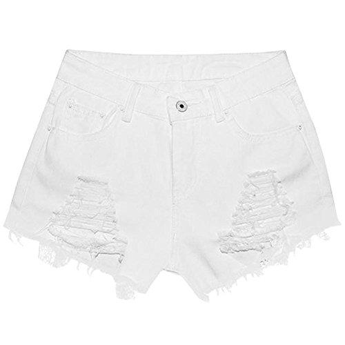 Signore Sexy Pants Pantaloncini Hot Sexy Donna Vicino Short Bianco Denim Pantaloni Alta Donne Caldo Luoluoluo Vita Jeans donna Nappe Shorts Buco Club In Donna xwzfIv1