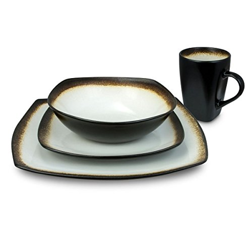 Haus by Kalorik CRT 43703 W Haus 16-Piece Brown and White Dinnerware Set - Curved edges,