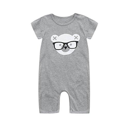 Fineser Summer Toddler Infant Baby Boys Cartoon Bear Print Short Sleeve Romper Jumpsuit Bodysuit Outfits Clothes (Gray, 24M)