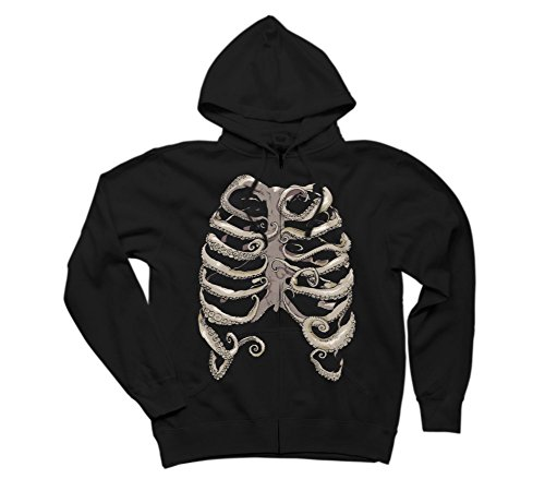 Your Rib Is an Octopus Men's 2X-Large Black Graphic Zip Hoodie