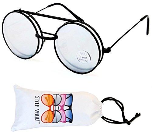 Women Mens Retro Style Flip Up Round Steampunk Sunglasses - 9