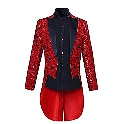 Men's Black Sequin Tailcoat Jacket