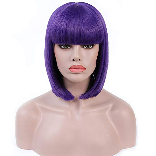 Rosa Star Short Bob Wig with Bangs 12 Inches Straight Synthetic Hair Wigs for Women (dark purple) -