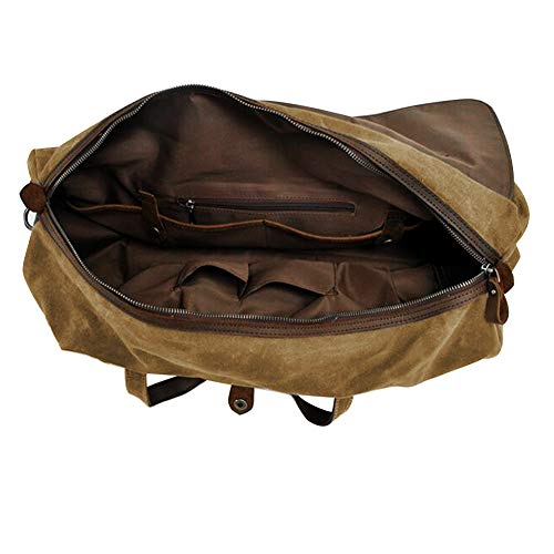 2a9979ba27c4 S-ZONE Waterproof Waxed Canvas Leather Trim Travel Tote Duffel Handbag  Weekend Bag