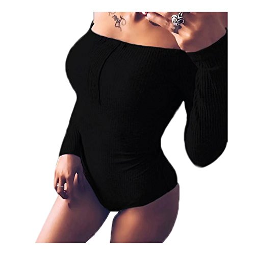 Womens Off Shoulder Long Sleeve Bodysuit Stretchy Leotard Solid Color(Black Large=US M)