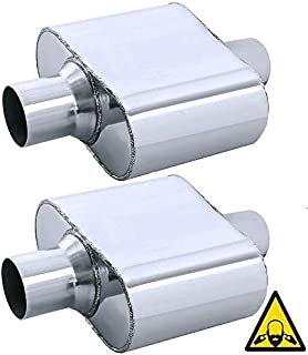 Pair of single chamber universal performance race round mufflers 2.5/""