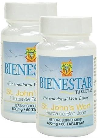 Contiene hierba de San Juan, St. Johns Wort, para aliviar depresion, ansiedad y tristeza. Set de 2 frascos con 60 tabletas c/u.