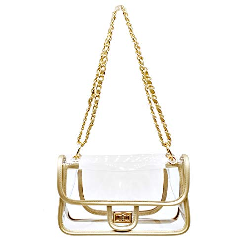 - Laynos Clear Purse Turn Lock NFL Approved Chain Waterproof Crossbody Shoulder Bags Handbags Gold