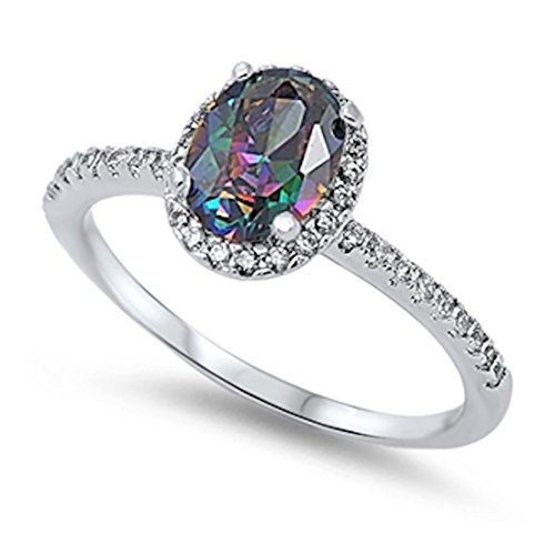 (Blue Apple Co. Halo Accent Wedding Ring Oval Cut Lab White Opal Round CZ Yellow Tone Plated 925 Sterling, Size-11)