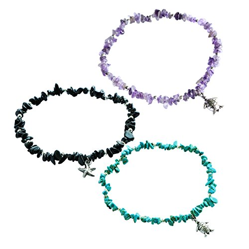 Me&Hz Women Healing Gemstone Chakra Anklets Set Silver Beads Stone Ankle Bracelets with Charm Foot Jewelry Ankle Bracelet Silver Gemstone