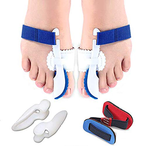 Bunion Corrector and Bunion Relief Kits (5 PCS), Adjustable Bunion Splint and Soft Bunion Pads for Treat Pain in Hallux Valgus, Big Toe Joint, Hammer Toe
