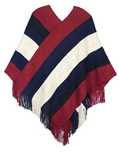 Dahlia Women's Knitted Poncho - V Neck Multi-Stripe Tassel Cape - Red ()