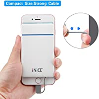 iNiCE 3000mAh Ultra Slim Mini Power Bank Portable Charger External Battery with Built in Lightning, Micro USB Cable for iPhone,Samsung,HTC and More ---White