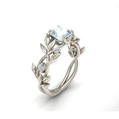 Jaywine2 Noble Women 925 Silver Floral Ring Transparent Aquamarine Wedding Jewelry Sz6-10 (7)