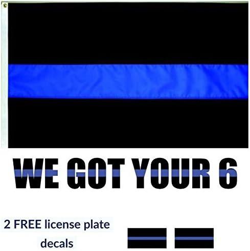 Delgada línea azul bandera con hemos Got tu 6 vinilo de la prima y 2 pegatinas de Placa de Licencia.: Amazon.es: Jardín