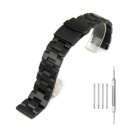 Stainless Steel Watch Band Classic Watch Strap 22mm with Foldable Buckle Clasp Solid Metal Watchband Wrist Band - Black