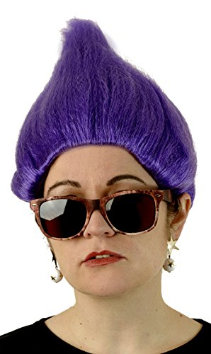 [Deluxe Purple Troll Wig Fits Adults and Kids] (Treasure Troll Costumes)