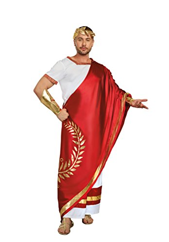 Dreamgirl Men's Caesar Ancient Roman Costume, White/red, -