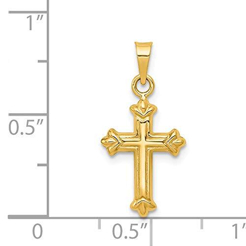 14k Yellow Gold Small Hollow Fleur de Lis Cross Pendant