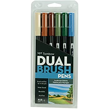 Tombow Dual Brush Pen Art Markers, Landscape, 6-Pack