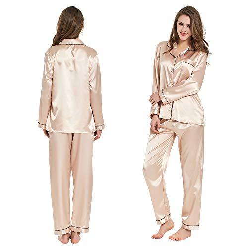 Ladieshow Women Pajamas Satin Ladies Pj Set Long Sleeve Sleepwear Two Piece Set