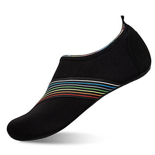 Womens and Mens Water Shoes Barefoot Quick-Dry Aqua Socks for Beach Swim Surf Yoga Exercise (SD.Black, XXXL) from WateLves