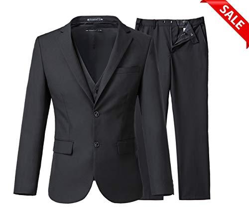 Yanlu Men's 3 Piece Slim Fit Suits 2 Buttons Wedding Groom Tuxedos