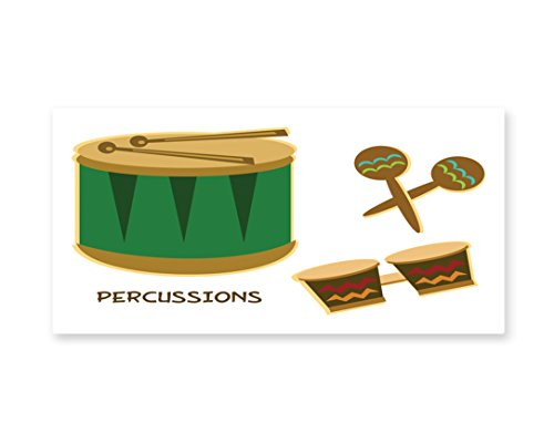 Lunarable Percussion Wall Art, Funky African Vibes Drums Maracas and Bongos Cuban Latin Festival Exotic Sound, Gloss Aluminium Modern Metal Artwork for Wall Decor, 23.5 W X 11.6 L Inches, Multicolor
