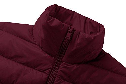 Wantdo en Doudoune Lger Ultra Manteau Rouge Vineux Montant Duvet Femme Col rfg6rX