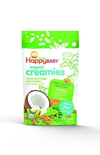 Happy Baby, Organic Baby Food, Coconut Creamies, Apple, Spinach, Pea & Kiwi, 1oz, bag