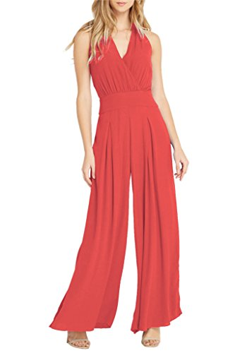 Women's Cross V Neck Sleeveless Flare Textured Palazzo Wild Legs One Piece Jumpsuit Coral S (Flare Textured Pants)