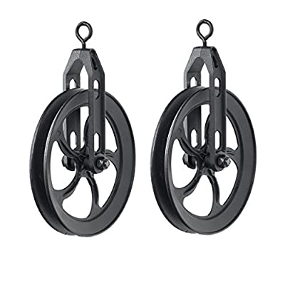 ArtifactDesign Vintage Rustic Industrial Look Medium Wheel Farm Pulley for Custom Make Wall Pendant Lamps Frosty Black Set of 2
