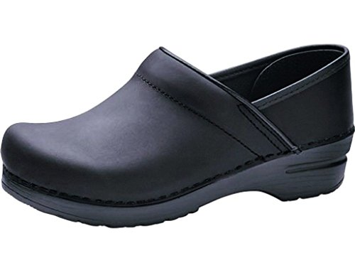 Professional Stapled Clog By Dansko Unisex Nursing Shoe Black Oiled by Dansko
