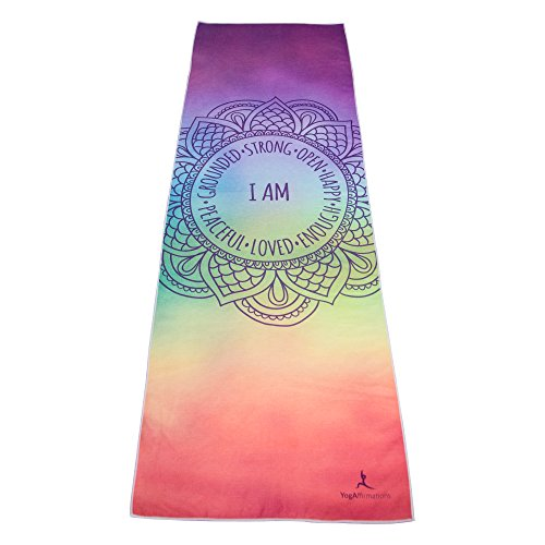 - Premium Quality Yoga Mat Towel by YogAffirmations - Non Slip, Silicone Dots, Ultra Soft Microfiber, Wicking Sweat Absorbent - Great for Pilates, Meditation, Hot Yoga - 24