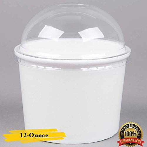 MM Foodservice White Paper Ice Cream Cups with Clear Round Dome Lid, Disposable Paper Frozen Yogurt Cups with Lid