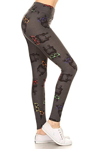 LYR-R718 Hipster Frenchie Printed Yoga Leggings, One Size