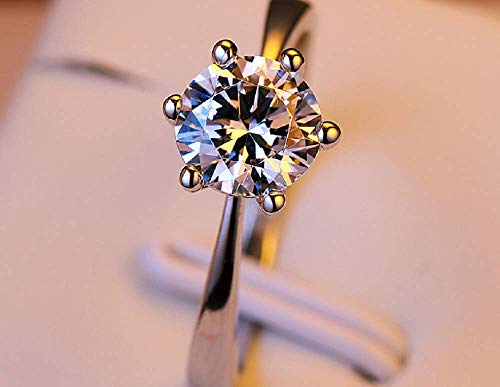 Weishu 925 Silver Round Perfect Cut 3ct CZ Engagement Ring Female Cubic Zirconia Commitment Halo Engagement Ring Solitaire Engagement Ring Open Ring 6-10