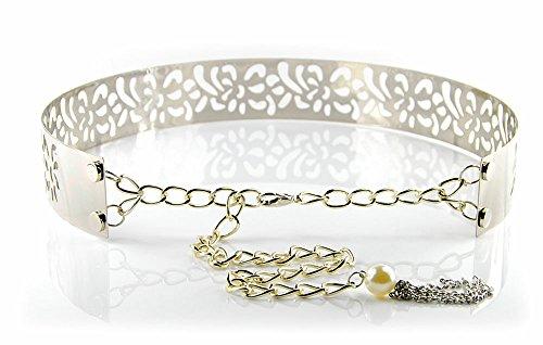 Kobwa(TM) Fashion Silver Vintage Metal Wide Skinny High Waist Belt Lady Dress Decoration with Kobwa's Keyring