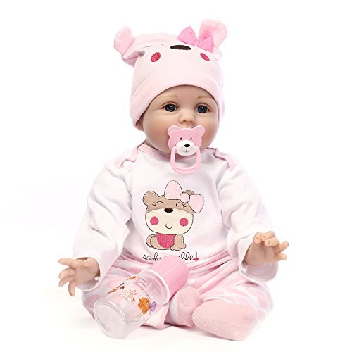 DLFTELS Reborn Baby Dolls Lifelike Realistic Baby Dolls 22 inch Soft Silicone Full Body Baby Dolls with Clothes and Magnetic Pacifier for Ages 3+