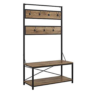 "W. Designs Walker Edison 72"" Industrial Metal and Wood Hall Tree in Barnwood - Includes assembly instructions 40""W x 17""D x 72""H Weight: 53 lbs. - hall-trees, entryway-furniture-decor, entryway-laundry-room - 41gGz1klNJL. SS400  -"