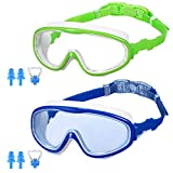 MZTDYTL Kids Swim Goggles, Pack of 2 Swimming Goggles with Crystal Clear Glasses No Leaking Anti Fog UV Protection for Children and Early Teens from 3 to 15 Years Old
