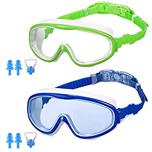 MZTDYTL Kids Swim Goggles, Pack of 2 Swimming Goggles with Crystal Clear Glasses No Leaking Anti Fog UV Protection for…