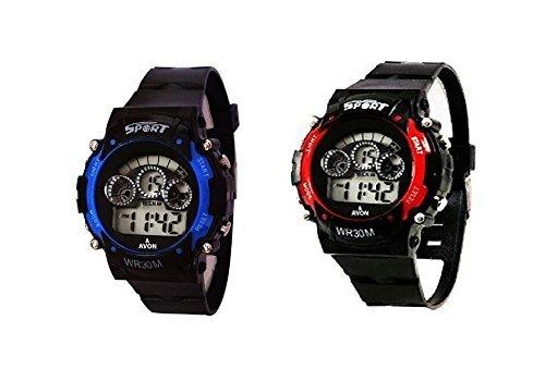 Fusine™ (Pack of 2) 7 Colour Lights Unisex Digital Sports Watch at Amazon ₹  169.00