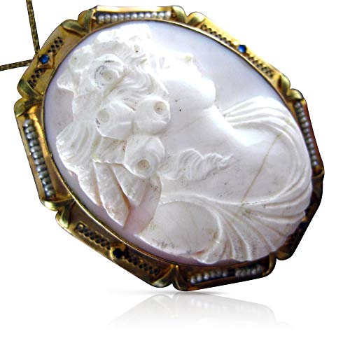 Yellow Gold Cameo Pin - Milano Jewelers Large Pearl & Sapphire 14K Yellow Gold Shell Cameo PIN Pendant #19939