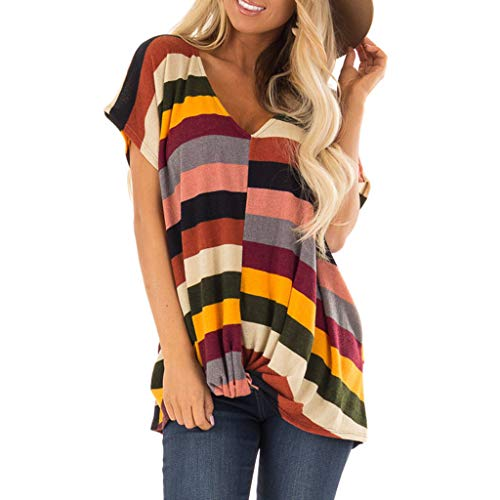 NCCIYAZ Womens T-Shirt Colourful Rainbow Striped Short Sleeve Knoted Tee Top Ladies Beach Loose Blouse(M(6),Multicoloured) ()
