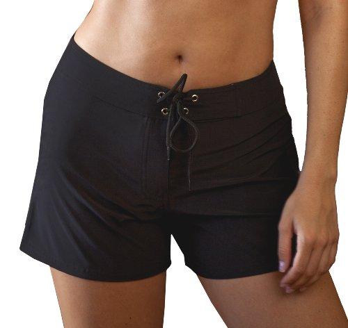 Kechika Women's Solid Poly Microfiber (NBK) Full Cut Boardshort With Normal Waistline 10 Black